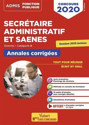 Concours secrétaire administratif et SAENES : externe, catégorie B : annales corrigées, concours 2020